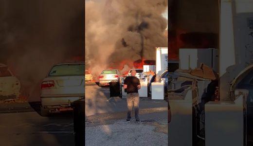 車屋さんが全焼-米国ニューブリテン2019年10月23日