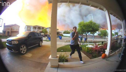 【恐怖】カリフォルニアにて、自宅のそばで起きた山火事映像